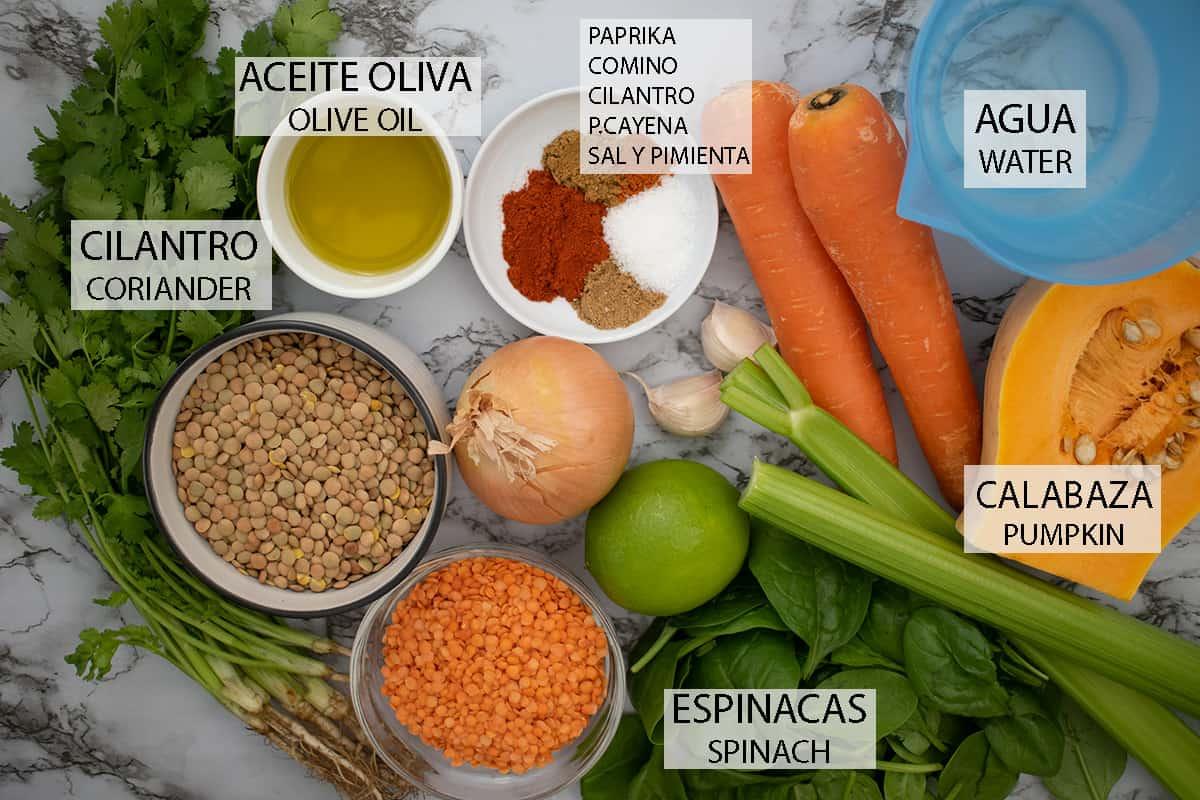ingredientes necesarios  para preparar sopa de lentejas y verduras