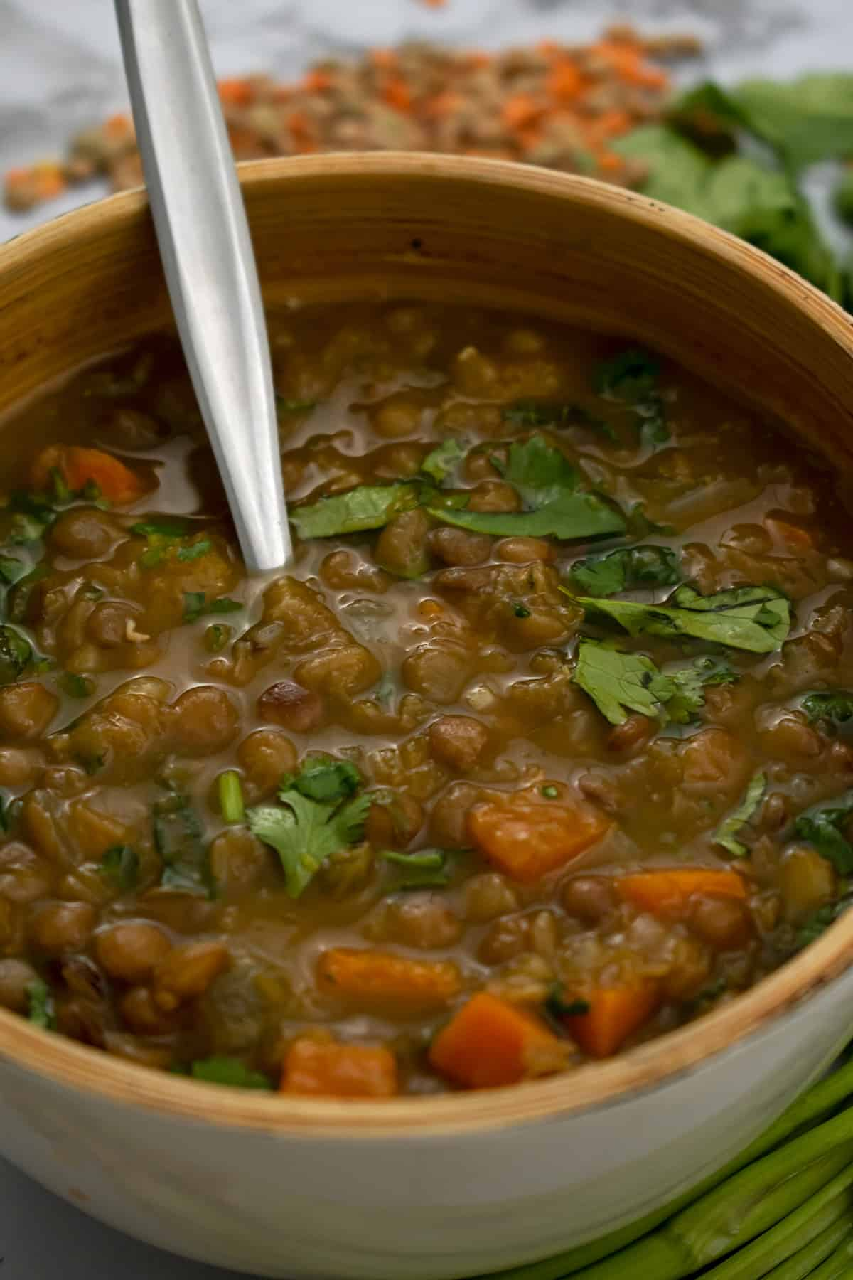 sopa de lentejas servida en un bol con una cuchara plateada