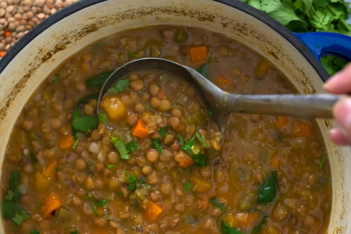 sopa de lentejas y verduras acaba de hacer.