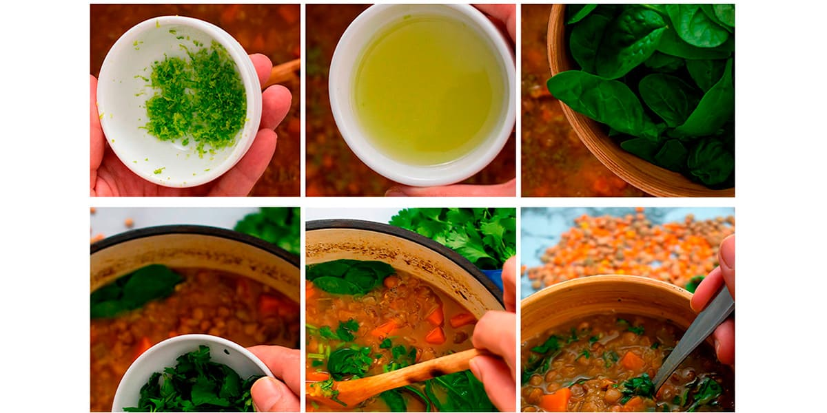 proceso paso a paso para añadir espinacas, ralladura y jugo de limón a la sopa.