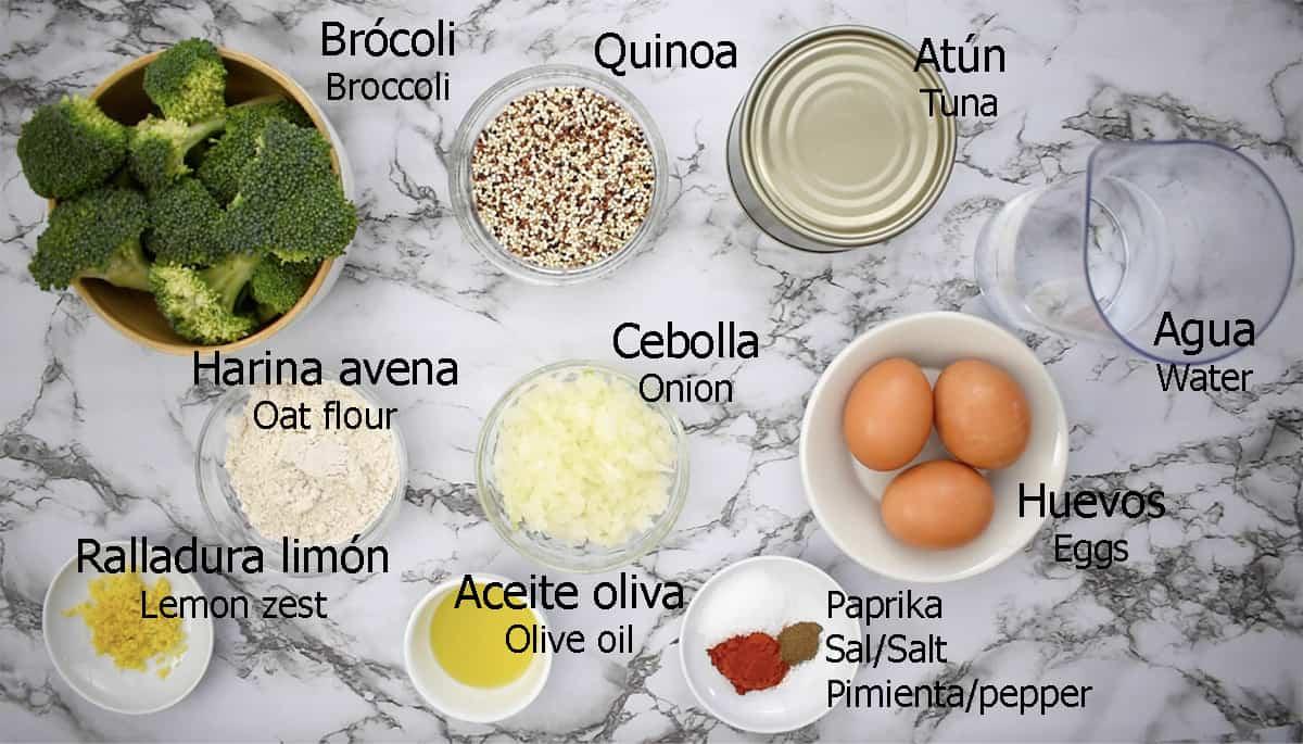 ingredientes para preparar hamburguesas de quinoa y atún