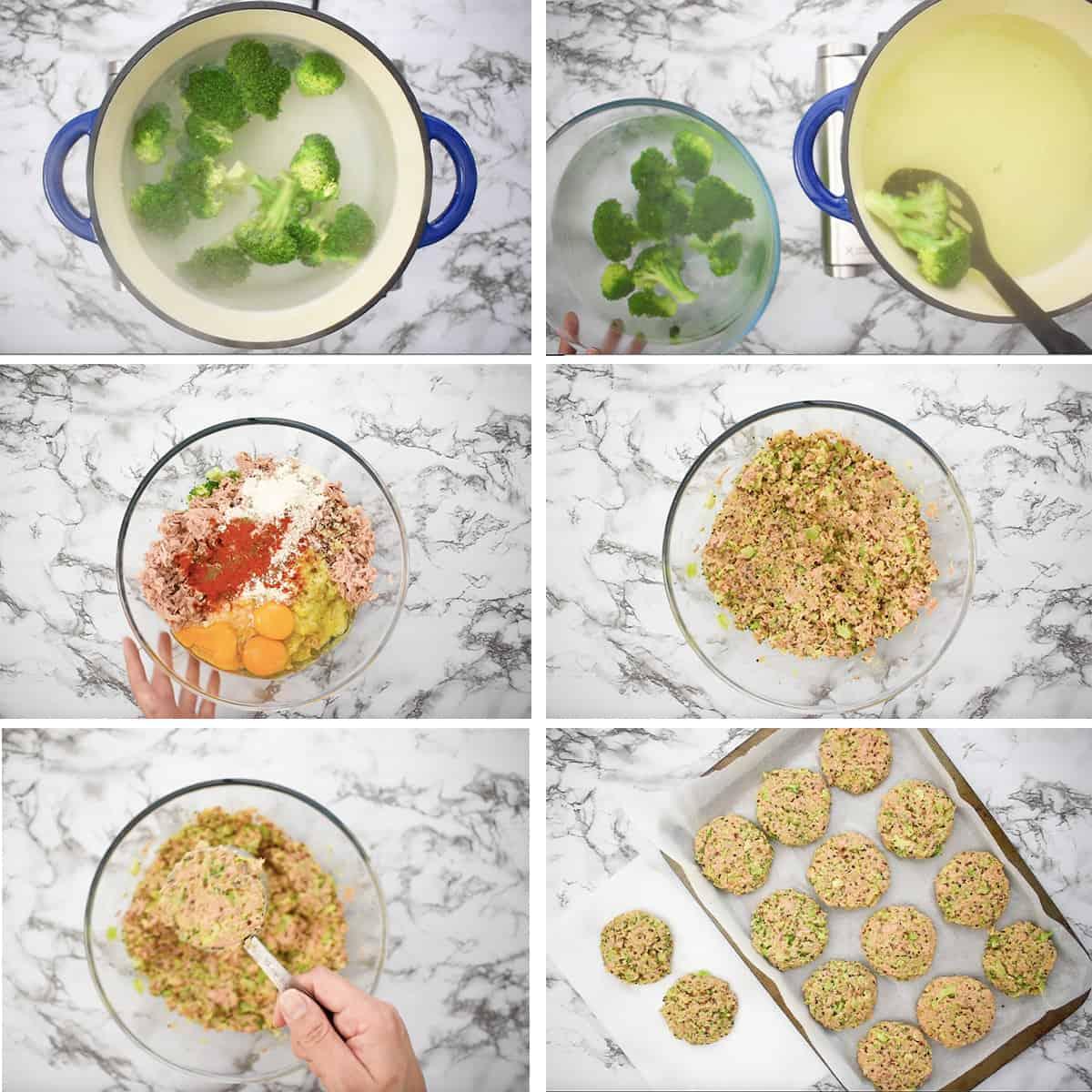 preparación paso a paso de torrejas de quinoa y atún