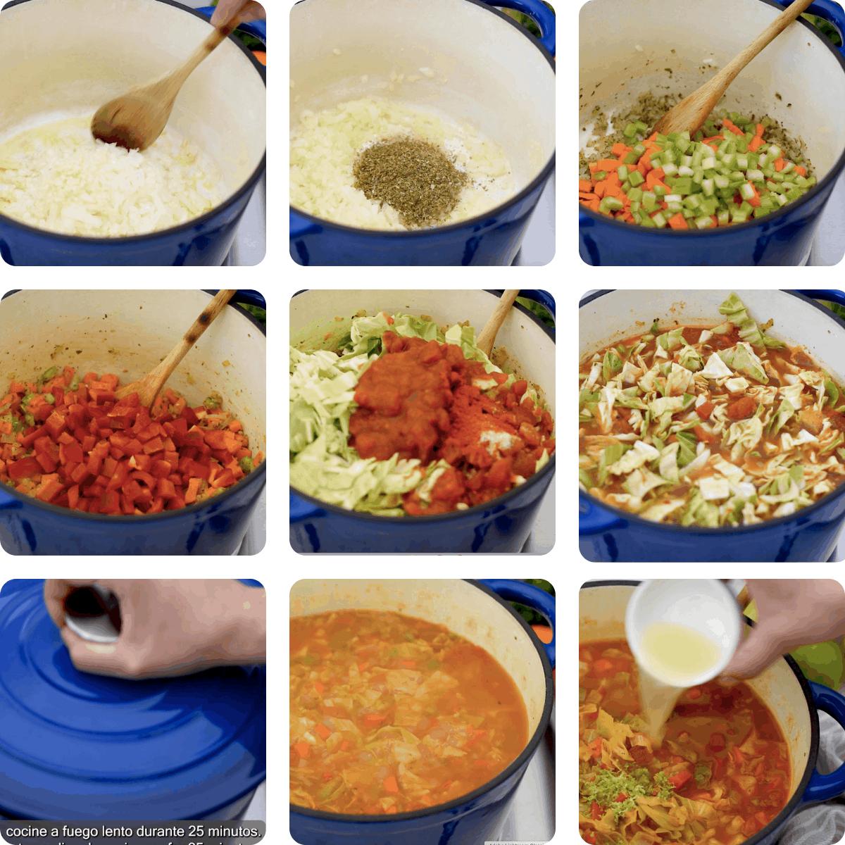 Receta para preparar sopa de col paso a paso